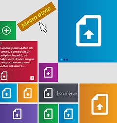 Export upload file icon sign metro style buttons vector