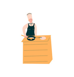 female cook baking pancakes professional vector image