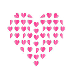 folded paper hearts pink hearts valentines day vector image