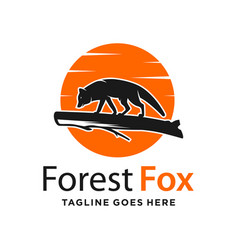 fox and circle logo design template vector image