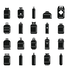 Gas cylinders bottle icons set simple style vector