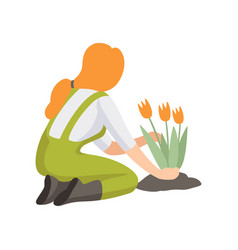 Girl planting tulip flowers people working in the vector
