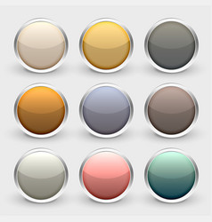 glossy metallic shiny buttons set vector image