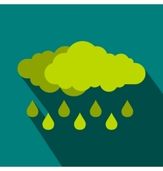 Green cloud with rain drop icon flat style vector image