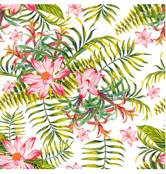 green tropical seamless pattern white background vector image