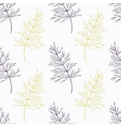 Hand drawn dill branch stylized black and green vector image