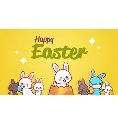 Happy easter greeting card with rabbits hand vector