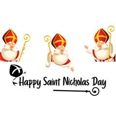 Happy saint nicholas or sinterklaas day set vector