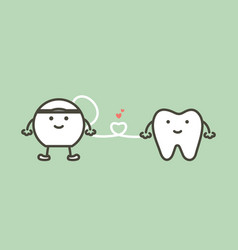 Healthy tooth and floss with heart vector