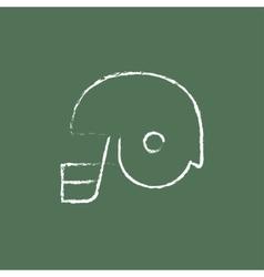 Hockey helmet icon drawn in chalk vector image