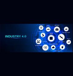 Industry 40 banner infographic vector