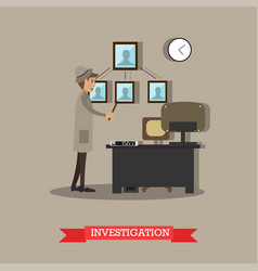 investigation in flat stile vector image