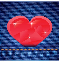 jeans background with heart vector image