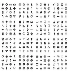Large icons set flat vector