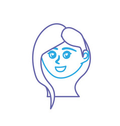 line avatar happy woman face with hairstyle design vector image