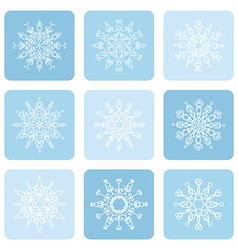 Linear snowflake icons set vector image vector image