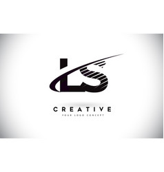 ls l s letter logo design with swoosh and black vector image