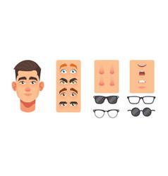 Man face constructor elements avatar creation vector