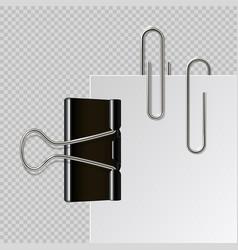 Metal paper clips realistic black binder vector