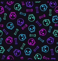 neon skulls background vector image