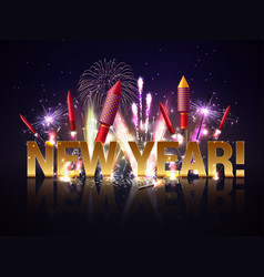 New year fireworks background vector