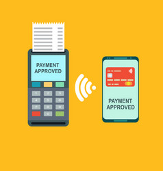nfc payment pos terminal confirms the payment vector image