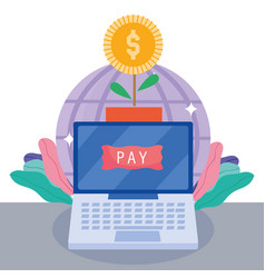Online payment laptop world and potted plant coin vector