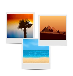Photoframes with summertime background vector