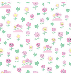 pink and yellow smiling floral seamless pattern vector image