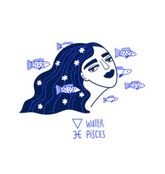 Pisces zodiac sign with beautiful girl vector