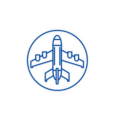 plane landing line icon concept plane landing vector image