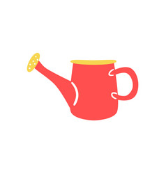 red plastic watering can in flat style - cute vector image