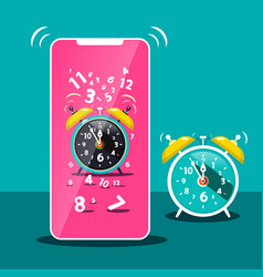 Ringing alarm clock icon cellphone symbol time vector