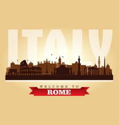 rome italy city skyline silhouette vector image