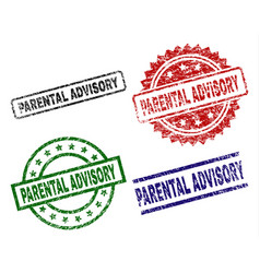 Scratched textured parental advisory stamp seals vector