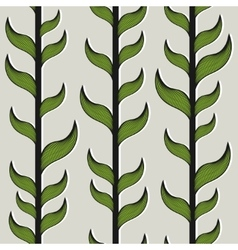 Seamless pattern with bamboo trees and leaves vector image