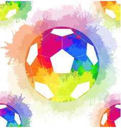 seamless pattern with white soccer balls with vector image