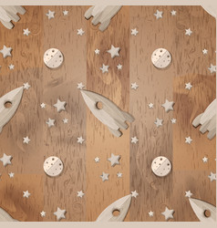 Seamless pattern with wooden rocket moon and vector