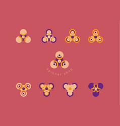 set creative geometric modern logo fidget spinners vector image