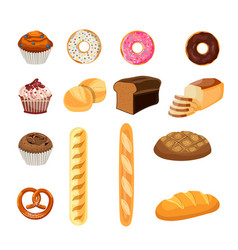Set of bread food vector