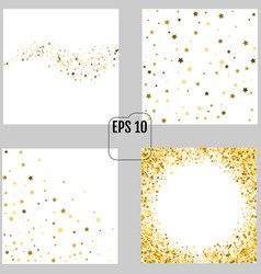 Set of groups of gold star decoration christmas vector