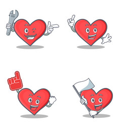 Set of heart character with mechanic foam finger vector