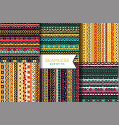 set of seamless pattern boho style ethnic vector image