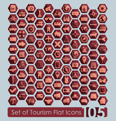 set of tourism icons vector image vector image