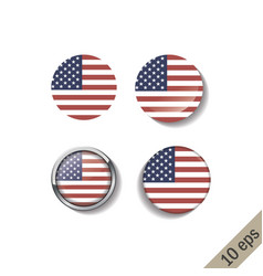 set united states america flags round badges vector image