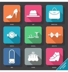 Set with accessories icons vector image