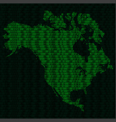 Silhouette of north america from binary digits on vector