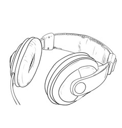 sketch of headphones vector image