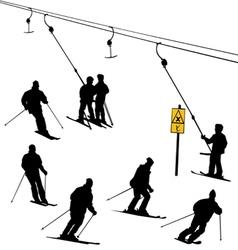 Ski lift skiers vector