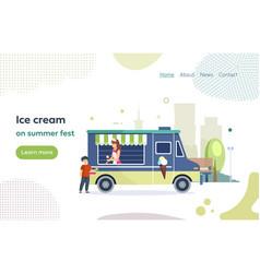 Street market cart with ice cream vector